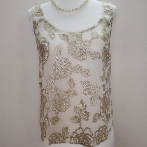 Abercrombie & Fitch Sheer Floral Sequin Tank sz S